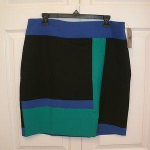 2 Worthington Sz 14 Skirts, Black Colorblock & Wht